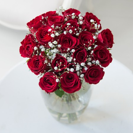 20 Stems Red Roses & Baby's Breath