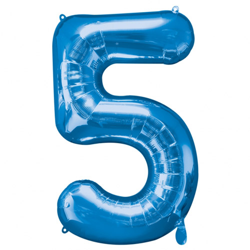 Number 5 Shape Balloon- Blue