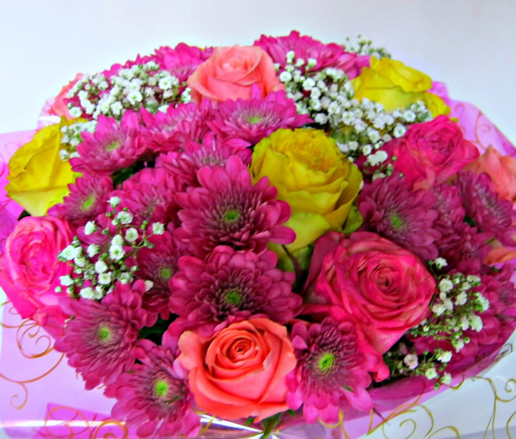 Yellow,Fushia,Pink roses,chrysanthemum & Baby's Breath