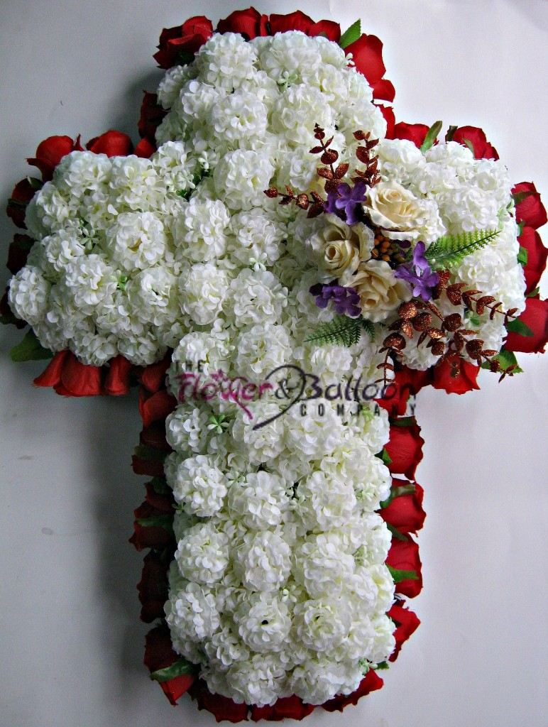 Silk flower cross funeral wreath flowerandballooncompany silk cross funeral wreath izmirmasajfo