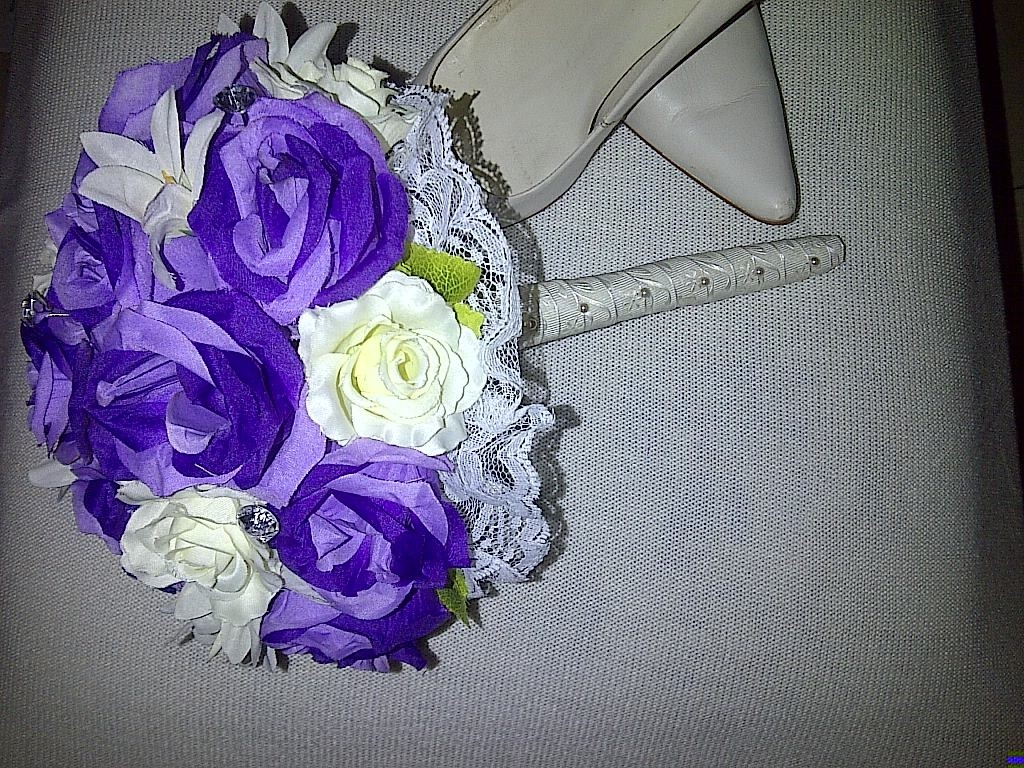 Artificial Purple & White Roses with Crystal Pins