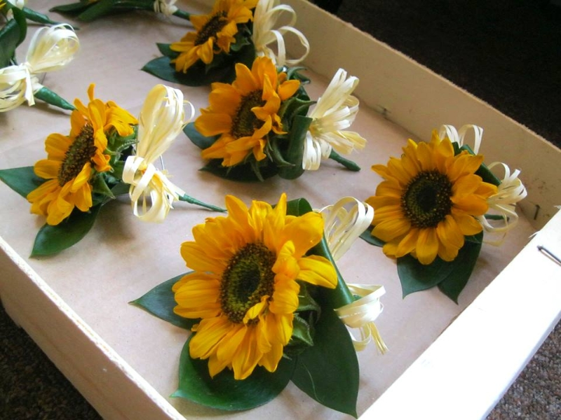 Bright and Beautiful Sunflower Boutonniere for the Groom and his Men