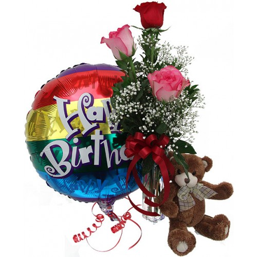 Birthday Combo- 3stem Roses, Celebration Balloon & Small Teddy