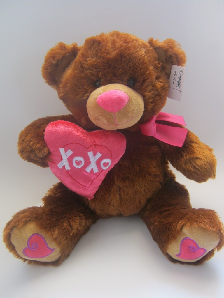 Plush Brown Teddy with Pink Heart Pillow