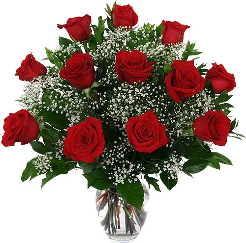 12 Red Roses Babys Breath In A Vase Flowerandballooncompany