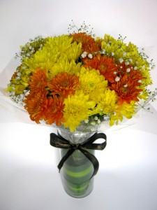 Yellow/Orange Chysanths Mix with Baby's Breath