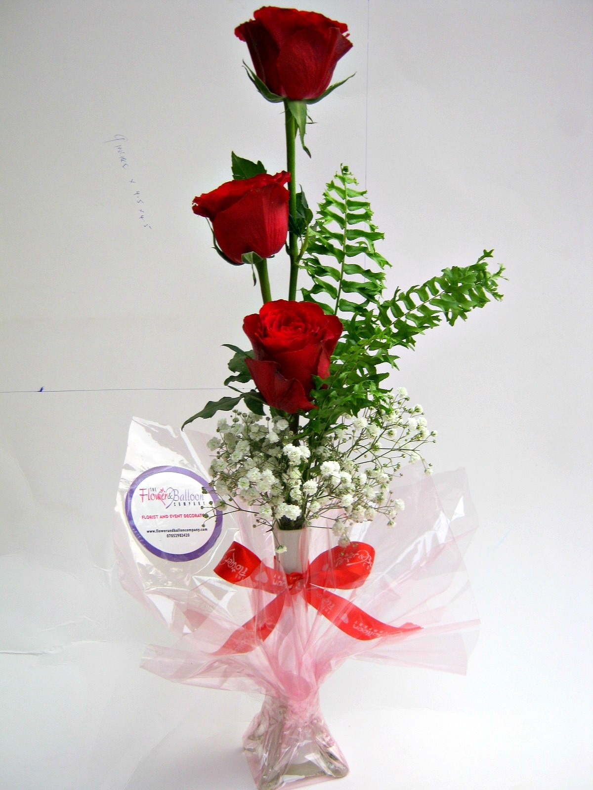 Flowerandballooncompany blog archive simple elegance 3 flower giftred roses3 stem red roses and gypsorose in vase floridaeventfo Choice Image