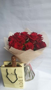 12 Stems Red Roses with Moet Champagne