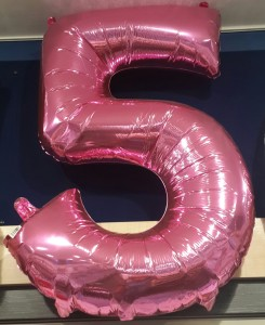 Large 24 Inch Number 5 Helium Filled Balloon