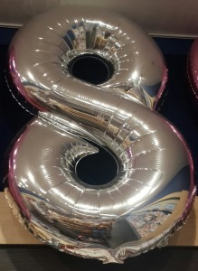 Large 24 Inch Number 8Balloon gift - Available in Pink and Silver