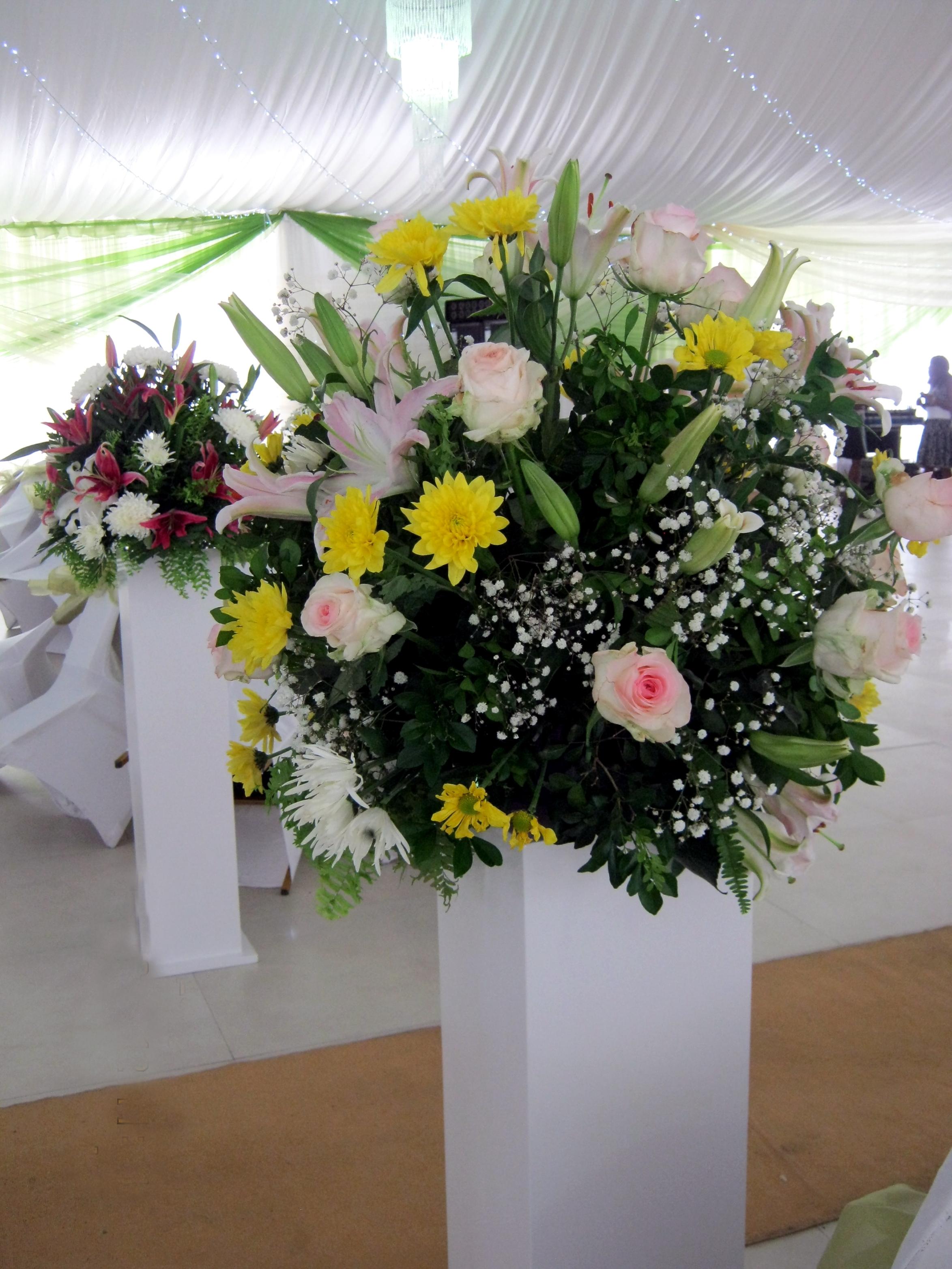 Aisle Walk Way Pillar Floral Arrangement