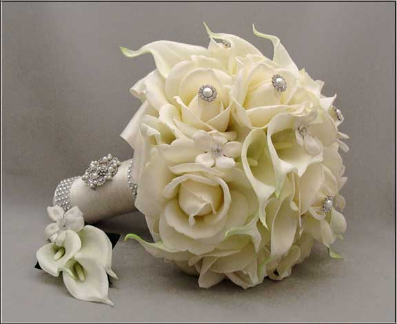 Silk White Roses Calla Lilies Jewellery Bouquet With Boutonniere