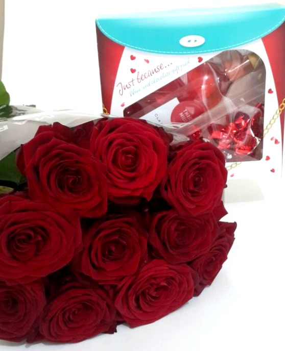 10 Red Roses Bouquet And Wine And Chocolate Gift Box