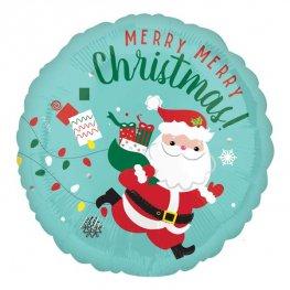 Round Foil Balloon with Santa Claus design