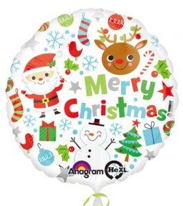 Round White Foil Christmas Balloon
