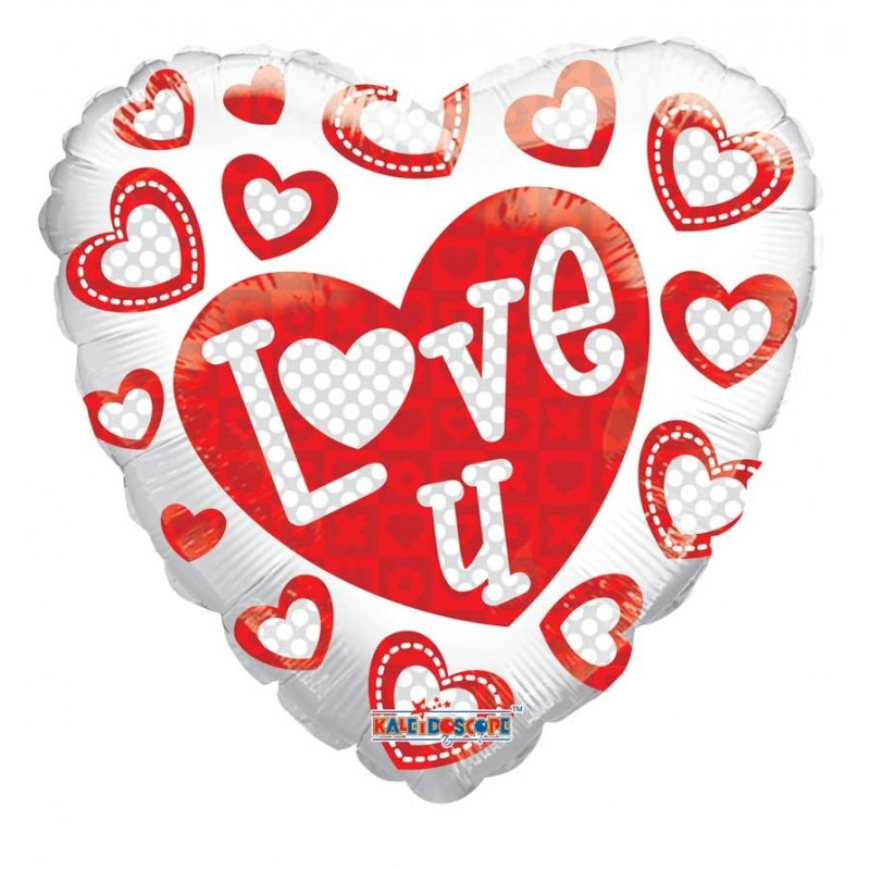 Heart Shaped Balloon with Love You inscription