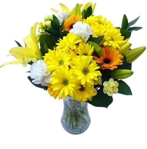 Mixed Flowers in a Vase Arrangement
