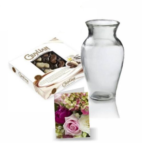 Vase,chocolate and card
