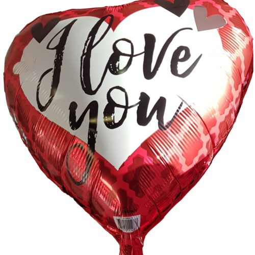 Heart Shape Helium Filled Foil Balloon with I Love You inscription