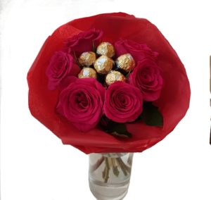 6 Red Rose Vase Bouquet with Ferrero Chocolates in the middle