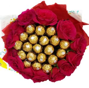 Red Rose bouquet arranged with Chocolates in the middle